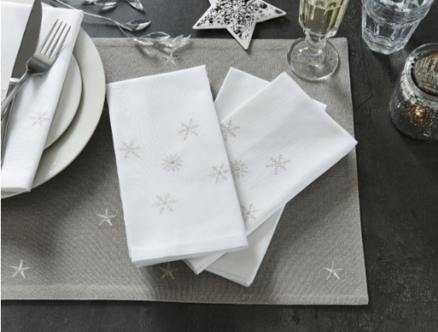 Traditional Snowflake Napkins from Bed, Bath & Table $19.95