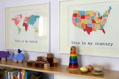 Kid s world map room delvebyashlea for Wall map for kids room