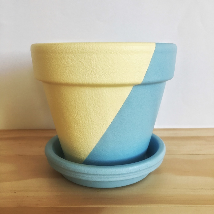 Hand Painted Plant Pot // Yellow and Blue