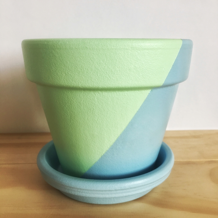 Hand Painted Pot // Green and Blue