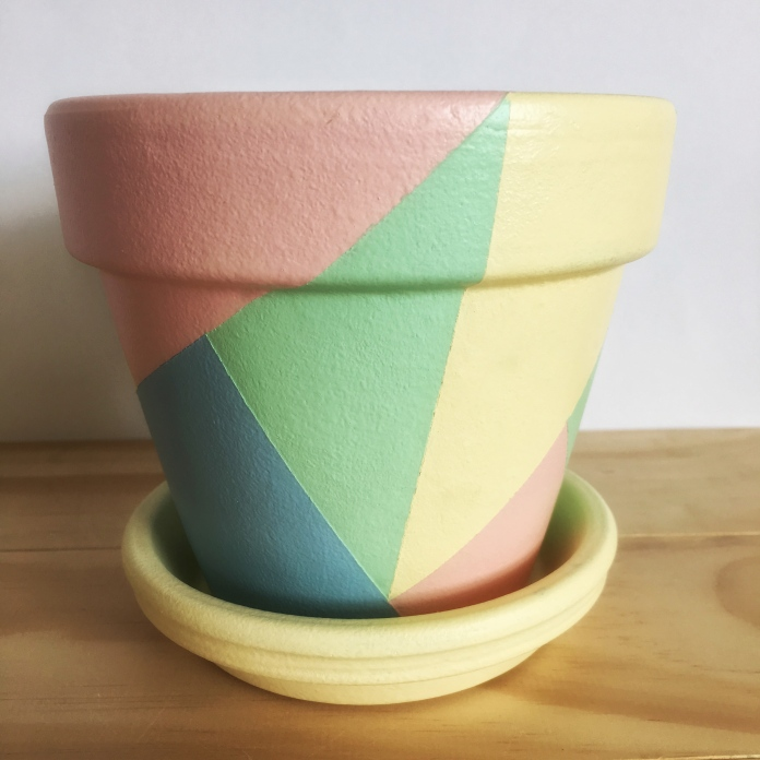 Hand Painted Plant Pot // Blue, Green, Pink and Yellow